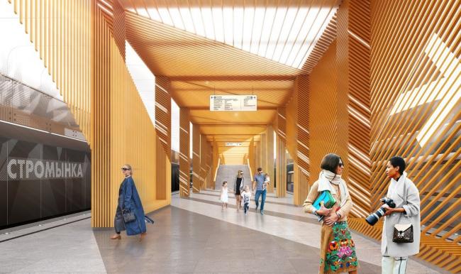 Архитектурное решение для станции «Стромынка». Проект бюро Vox Architects. Изображение предоставлено Агентством стратегического развития «Центр»
