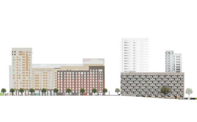 Башня и квартал на Якушева. Развертка по проектируемому бульвару © DROM