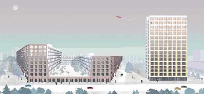 Башня и квартал на Якушева. Коллекция открытых пространств © DROM