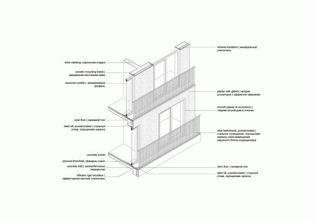 Башня и квартал на Якушева. Аксонометрия террасированного дворового фасада квартала © DROM