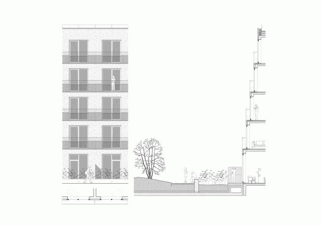 Башня и квартал на Якушева. Фрагмент террасированного дворового фасада квартала © DROM