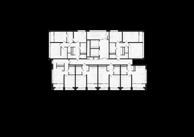 Башня и квартал на Якушева. Башня. План первого уровня пентхаусов на 16 этаже © DROM