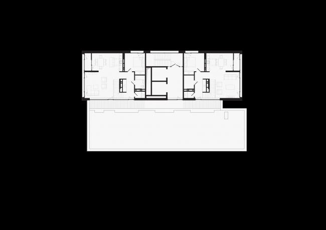 Башня и квартал на Якушева. Башня. План второго  уровня пентхаусов на 17 этаже © DROM