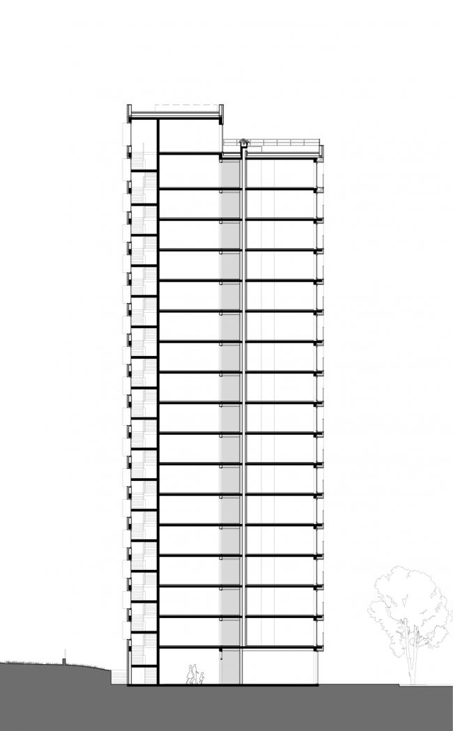 Башня и квартал на Якушева. Башня. Разрез © DROM