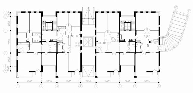 Жилой дом «Stella Maris». Постройка, 2007. План 1 этажа © Евгений Герасимов и партнеры