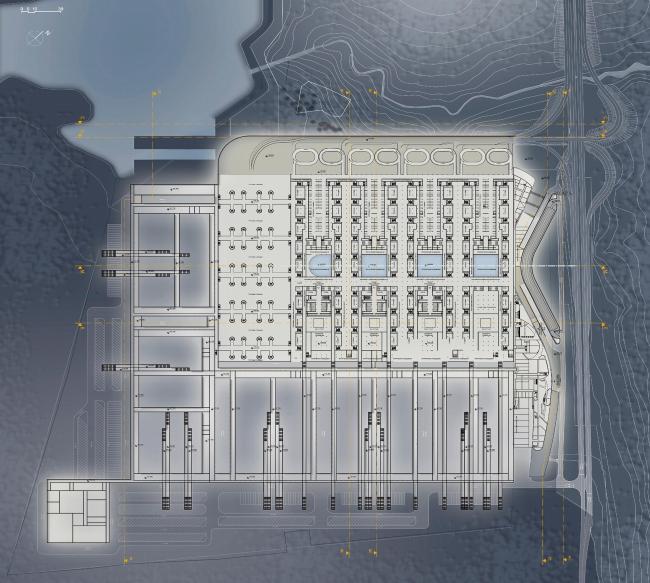 Конгрессно-выставочный комплекс «Экспофорум» на Петербургском шоссе. План -1 этажа © SPEECH, Евгений Герасимов и партнеры