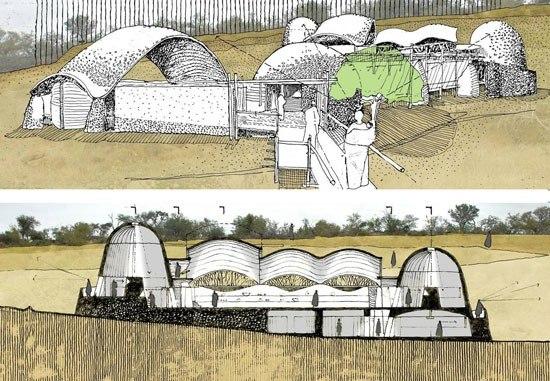 Концепция и схематический разрез Mapungubwe Interpretation Center. Проект Peter Rich Architects