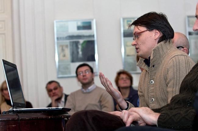 Выступление латышского архитектора Алексея Бирюкова. Презентация конкурсных проектов. Фото: Илья Коузов © ПИРогово