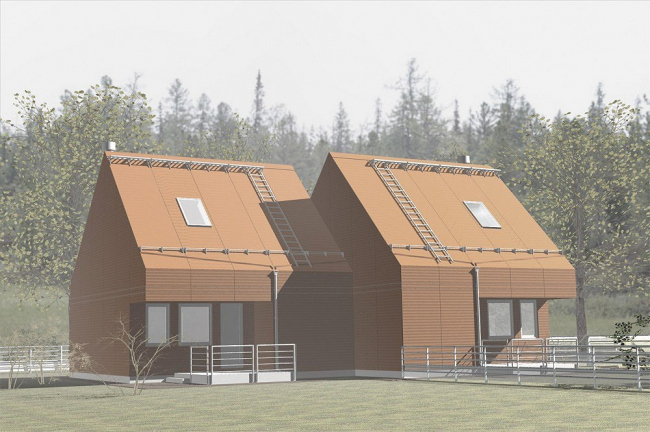Внешний вид индивидуального жилого дома на основе «Модульного архитектурного конструктора». Архитектурное бюро «Остоженка»