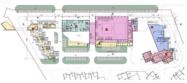 Многофункциональный спортивно-общественный центр в Олимпийской деревне «Новогорск». План 1 этажа. Проект, 2010 © Архитектуриум