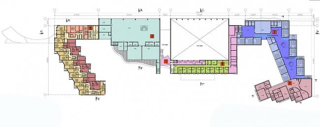 Многофункциональный спортивно-общественный центр в Олимпийской деревне «Новогорск». План 2 этажа. Проект, 2010 © Архитектуриум