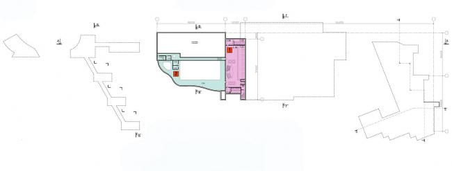 Многофункциональный спортивно-общественный центр в Олимпийской деревне «Новогорск». План подвального этажа. Проект, 2010 © Архитектуриум