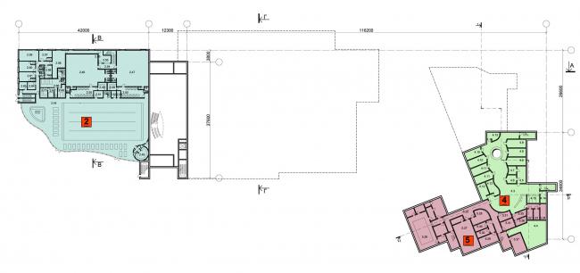 Многофункциональный спортивно-общественный центр в Олимпийской деревне «Новогорск». План цокольного этажа. Проект, 2010 © Архитектуриум