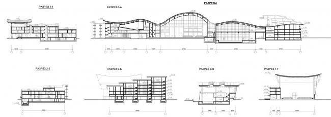 Многофункциональный спортивно-общественный центр в Олимпийской деревне «Новогорск». Разрезы. Проект, 2010 © Архитектуриум