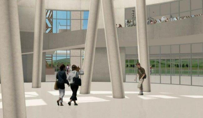 Алезия – музейный и археологический парк. Информационный центр. Вестибюль. Визуализация © Bernard Tschumi Architects