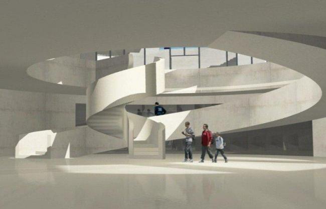 Алезия – музейный и археологический парк. Музей. Вестибюль. Визуализация © Bernard Tschumi Architects