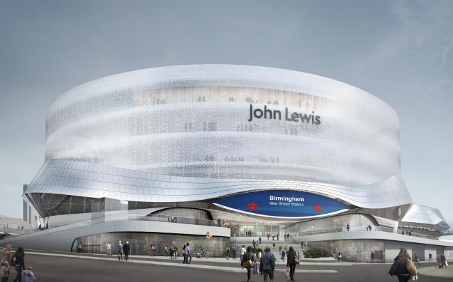 Выход из вокзала Нью-Стрит с универмагом John Lewis. © Foreign Office Architects. 2011 г.