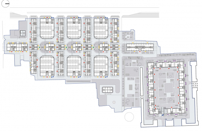 Схема первого этажа. Жилой комплекс комфорт-класса, Санкт-Петербург © ТПО «Резерв»