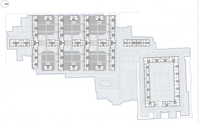 Схема типового этажа. Жилой комплекс комфорт-класса, Санкт-Петербург © ТПО «Резерв»