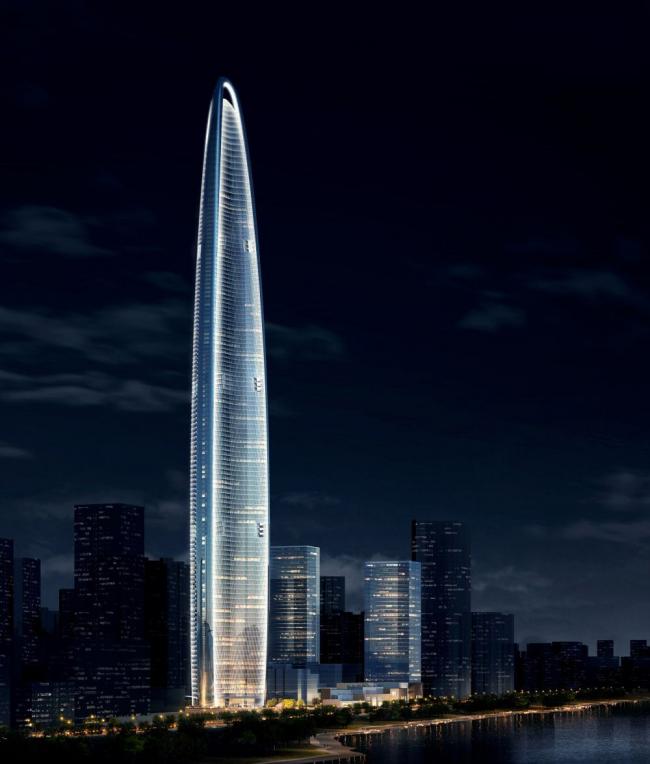 Башня Wuhan Greenland Center © Adrian Smith + Gordon Gill Architecture