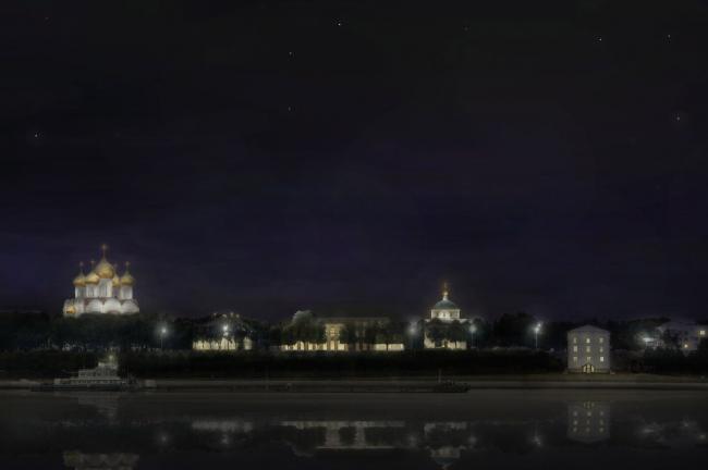 Развертка со стороны Волги - вид ночью