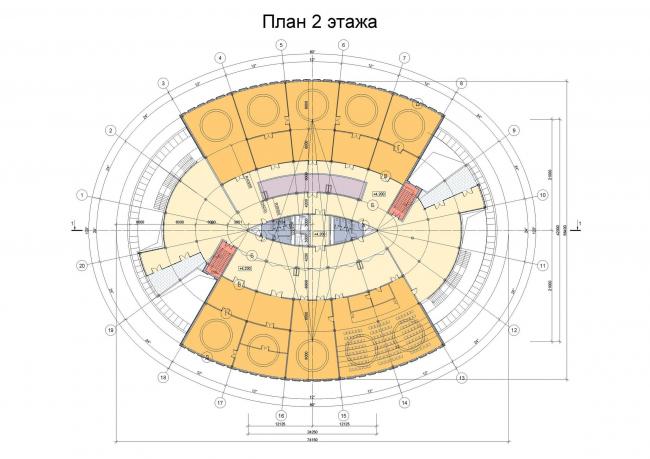 Административное здание на космодроме «Восточный». План 2-го этажа © ОАО «ИПРОМАШПРОМ»