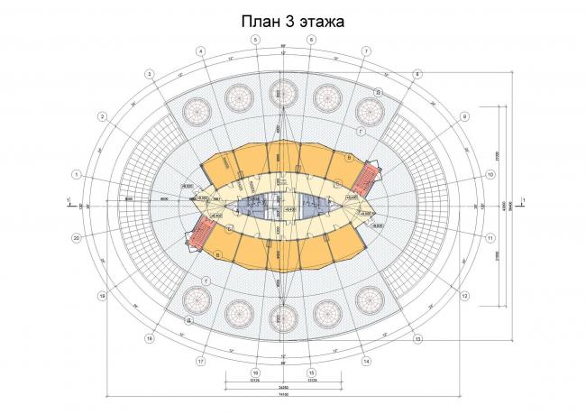 Административное здание на космодроме «Восточный». План 3-го этажа © ОАО «ИПРОМАШПРОМ»