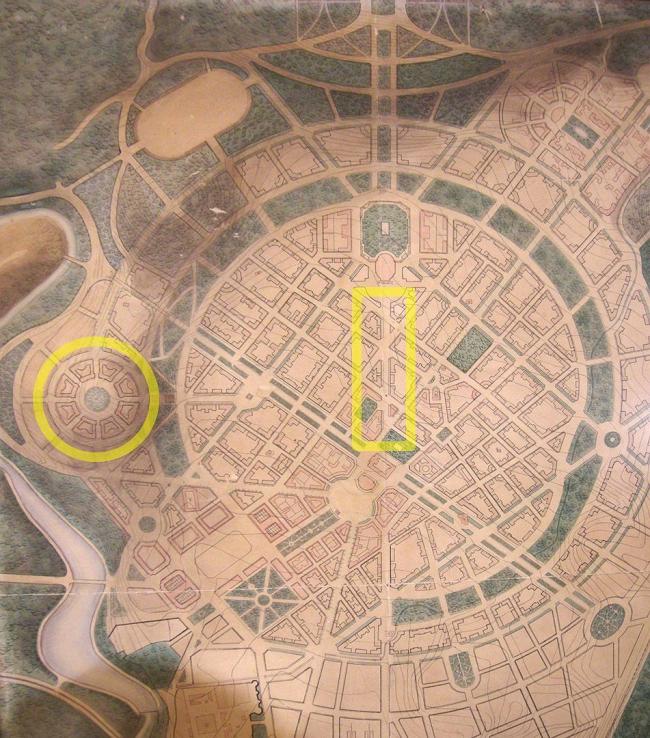 Северный проспект (в центре) и Конд (слева) на генеральном плане Еревана (арх. А. Таманян, 1924). Источник: Музей истории Еревана