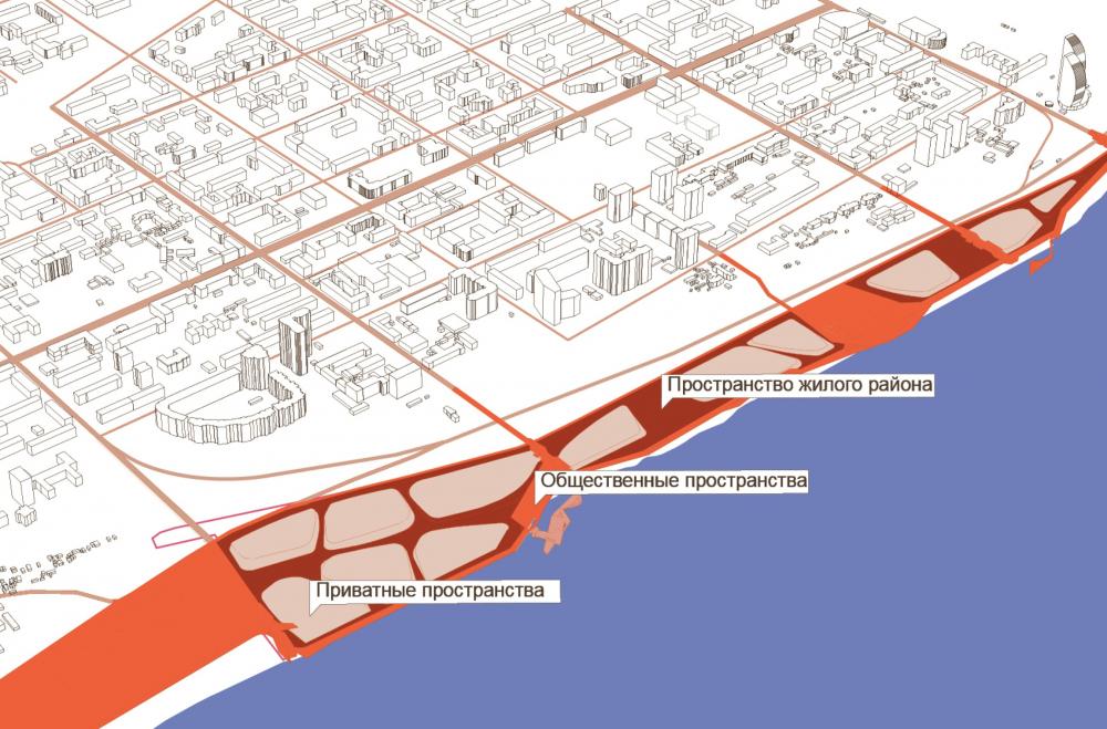 Разделение общественных, городских, и приватных, дворовых, пространств<br>© ATRIUM