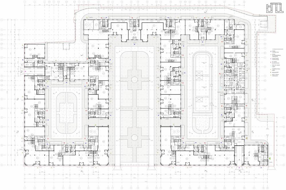 Многоквартирный дом со встроенными помещениями в Басковом переулке. Проект, 2013. План 1 этажа <br>© Евгений Герасимов и партнеры