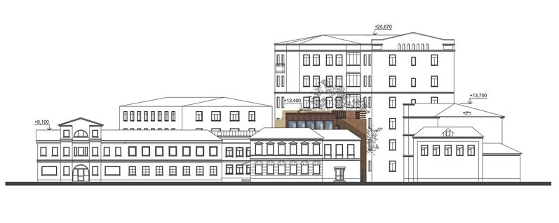 The studio of Zurab Tsereteli. Development drawing alog the Klimentovsky Alley. Project, 2014<br>Copyright: © Mezonproekt