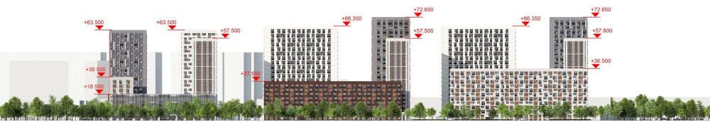 """You and Me"" housing complex. Development drawing along the Kominterna Street<br>Copyright: © GREN."