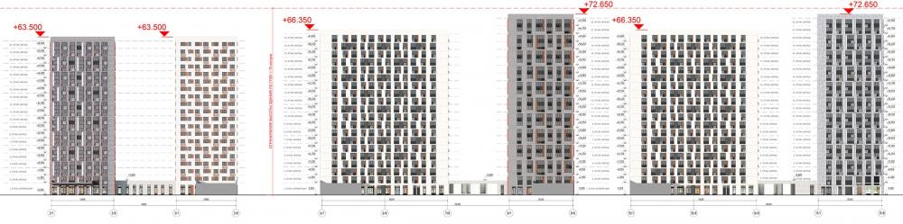 Жилой комплекс «ТЫ И Я». Схема фасада D в осях <br>© GREN.