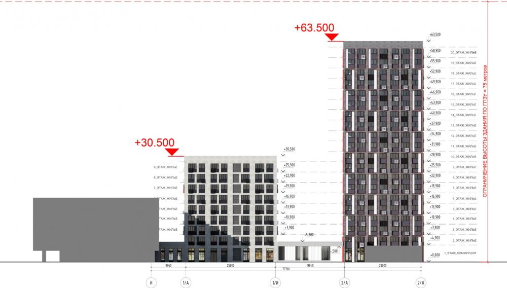 Жилой комплекс «ТЫ И Я». Схема фасада G в осях <br>© GREN.