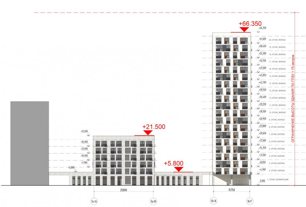 Жилой комплекс «ТЫ И Я». Схема фасада R  в осях <br>© GREN.