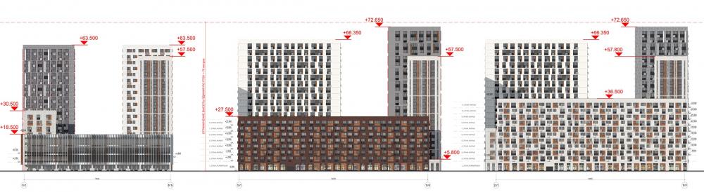 Жилой комплекс «ТЫ И Я». Схема фасада A  в  осях <br>© GREN.