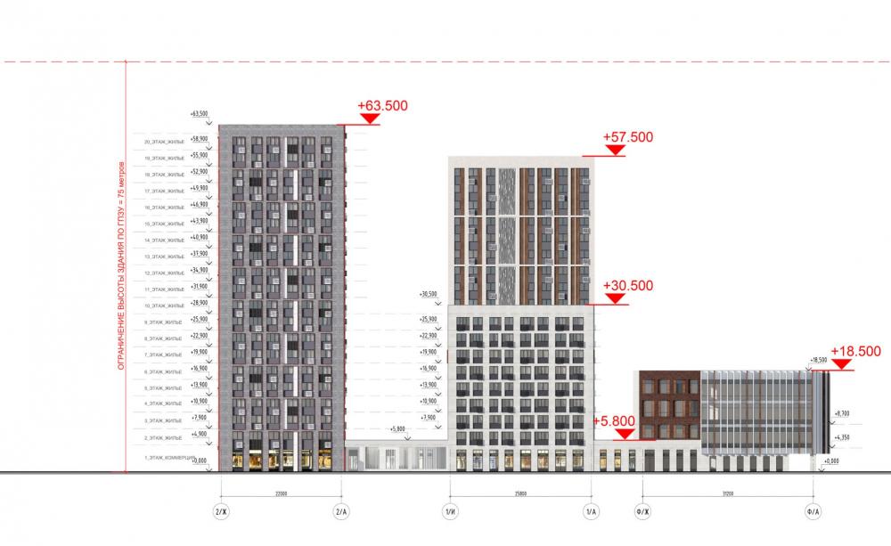 Жилой комплекс «ТЫ И Я». Схема фасада E в осях <br>© GREN.