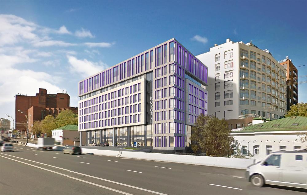 The hotel on the Zemlyanoi Val Street. A version of the facade<br>Copyright: © GRAN