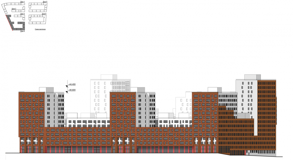 Novokraskovo housing complex. The facade scheme<br>Copyright: © Ostozhenka Bureau