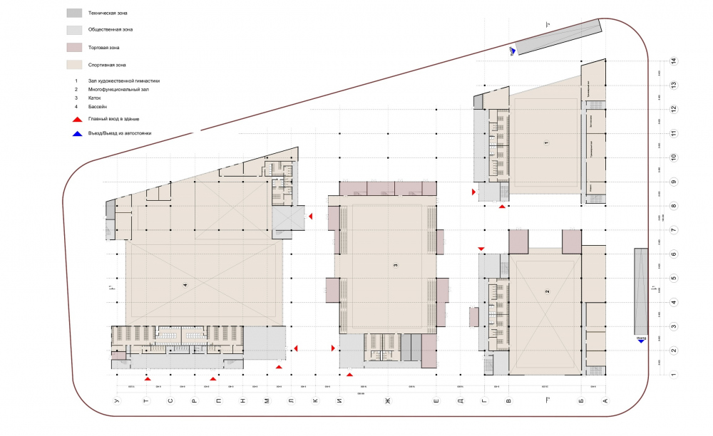 """The multifunctional complex """"Sportpark""""<br>Copyright: © ASADOV architects"""