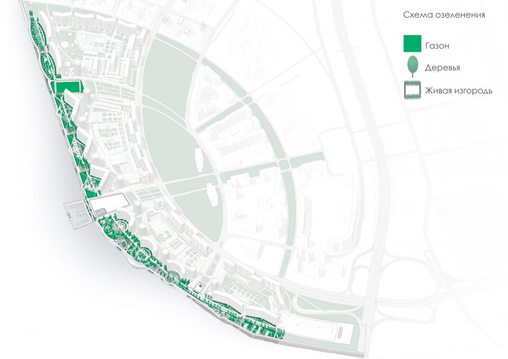Концепция благоустройства пешеходных зон и общественных пространств на намывных территориях Невской губы. Схема озеленения <br>© Студия 44