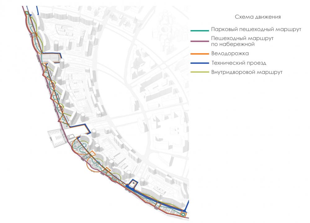 Концепция благоустройства пешеходных зон и общественных пространств на намывных территориях Невской губы. Схема маршрутов <br>© Студия 44