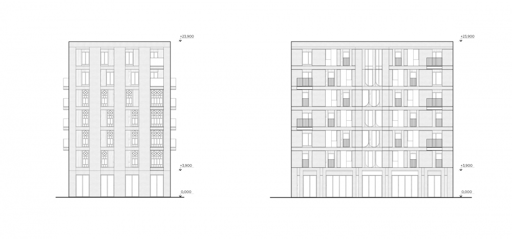 """Pokrovsky"" housing complex in Izhevsk. Facades. Project copyright © MAYAK architects"