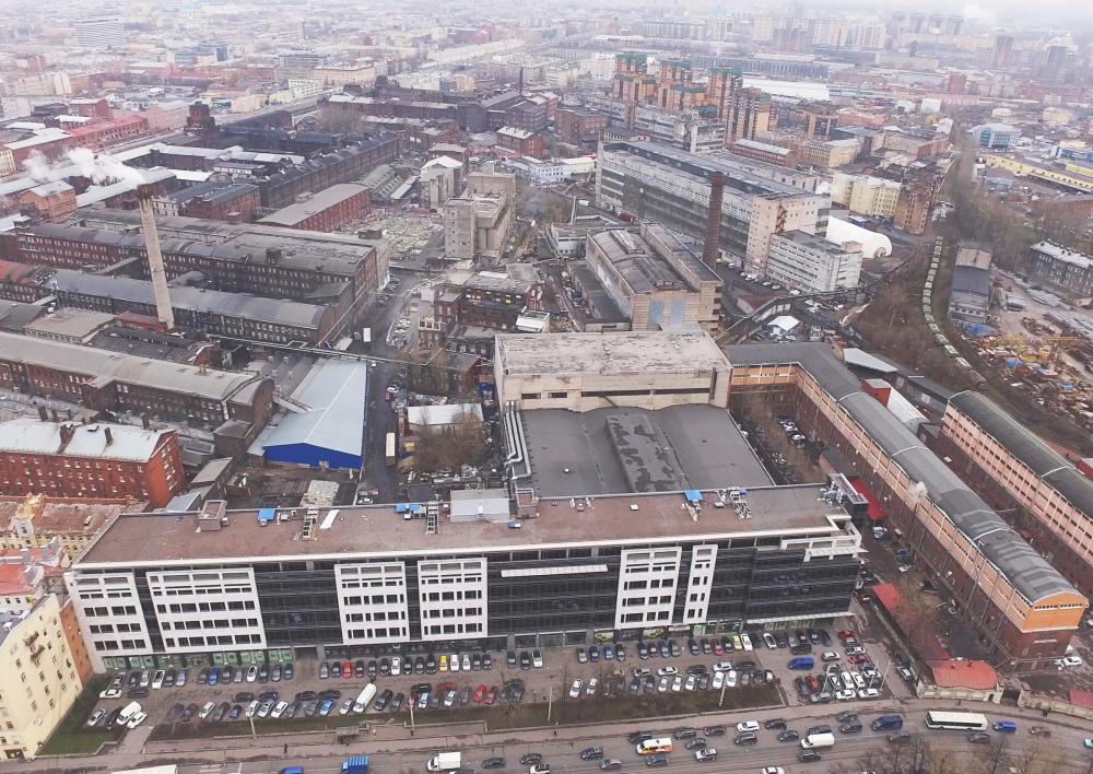 Вид со Старо-Петергофского проспекта на территорию завода «Красный треугольник»<br>Предоставлено Евгений Герасимов и партнеры