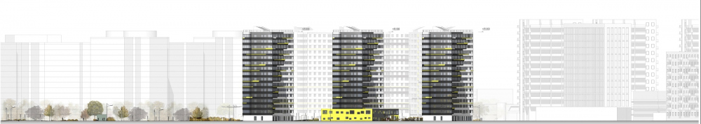 """Dom na Lvovskoi"" housing complex. Development drawing from the side of the Poluostrovsky<br>Copyright: © A-Len"