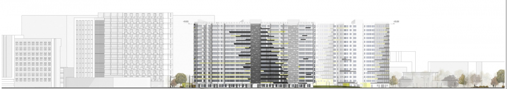 """Dom na Lvovskoi"" housing complex. Development drawing from the side of the Lvovskogo Street<br>Copyright: © A-Len"