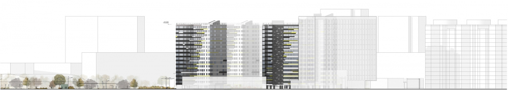 """Dom na Lvovskoi"" housing complex. Development drawing from the side of the Marshala Tukhachevskogo Street<br>Copyright: © A-Len"
