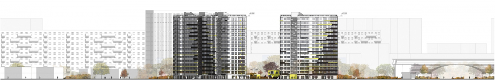 """Dom na Lvovskoi"" housing complex. Development drawing from the side of the sports complex<br>Copyright: © A-Len"