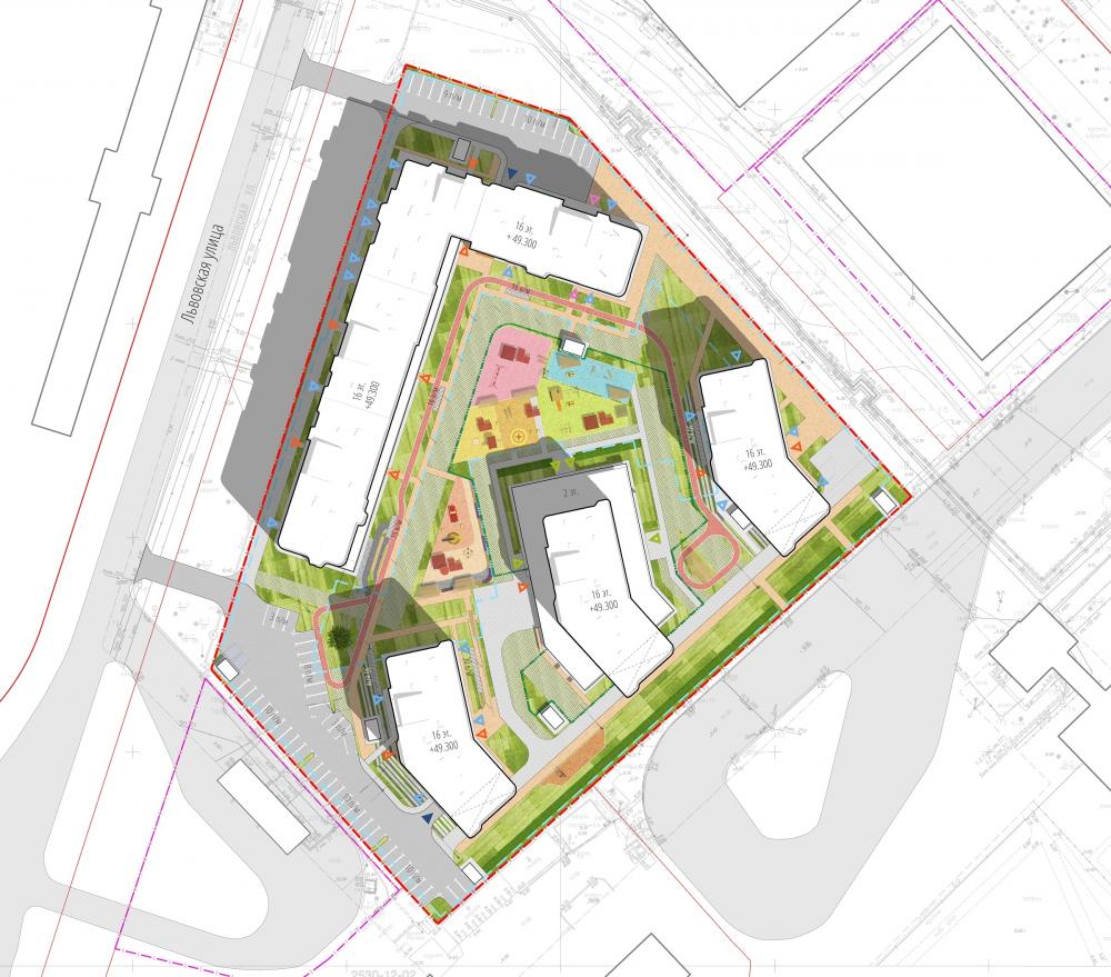 """Dom na Lvovskoi"" housing complex. Master plan<br>Copyright: © A-Len"