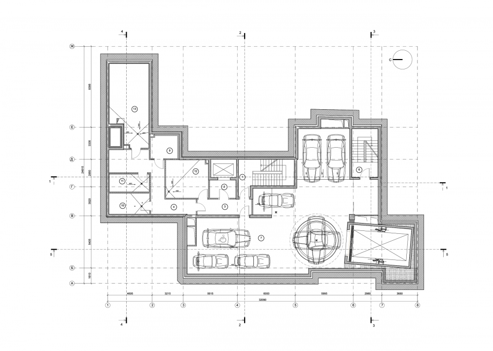 Edison House. Plan of the -1st level of the parking garage<br>Copyright: © Aleksey Bavykin and Partners